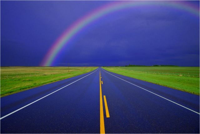 Rainbow Over Country Road